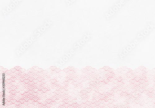 Fototapeta 背景:青海波 波 海 伝統 模様 和風 和柄 図案 壁紙 素材 テクスチャー 赤 レッド obraz