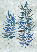 Abstract Watercolor Leaves In ...