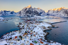 Aerial View Of Reine At Sunset