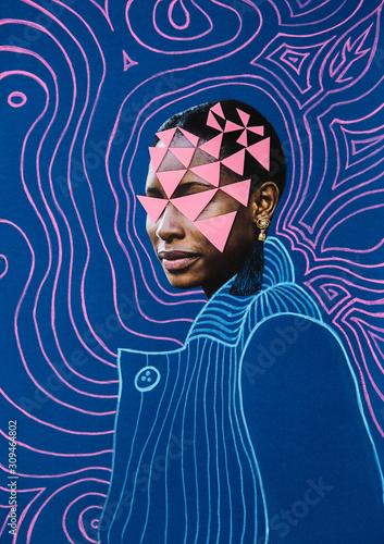 Mixed media portrait of a black woman Wall mural