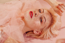 From Above Portrait Of Beautiful Young Blond Woman With Red Lips