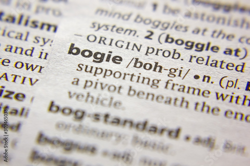 Photo Word or phrase Bogie in a dictionary.