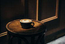 Coffee With Latte Art On A Chair