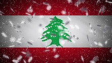 Lebanon Flag Falling Snow Loopable, New Year And Christmas Background, Loop.