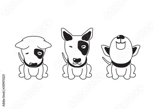 Tela Vector cartoon character bull terrier dog poses for design.