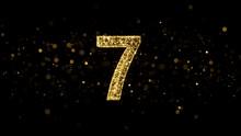 Luxury Golden Glitter Number 7 - 3D Rendered Shining Sparkles
