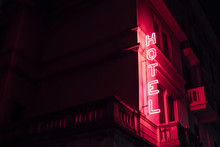 Pink Cool Red Hotel Sign Glowi...