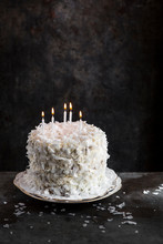 Coconut Flake Cake With Candles
