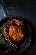 Roast Chicken In Cast Iron Skillet With Herbs