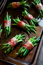 Savory Asparagus And Green Beans Wrapped With Salty Prosciutto Ham