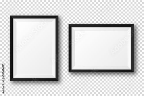 Obraz Realistic blank black picture frame with shadow isolated on transparent background. Modern poster mockup. Empty photo frame for art gallery or interior. Vector illustration. - fototapety do salonu