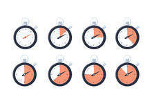 Set Of Simple Timers. Countdown Timer Vector Icons Set. Stopwatch Icons Set In Flat Style, Digital Timer Clock And Watch
