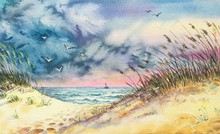 Watercolor Coast Dunes Beach Sea. Dune Grasses On The Gold Beach. Colorful Sky. Yellow, Purple, Green, Blue Background. Horizontal View, Copy-space. Template For Designs, Card, Posters.