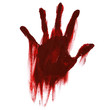 canvas print picture - blood handprint with smudges for horror isolated on white background