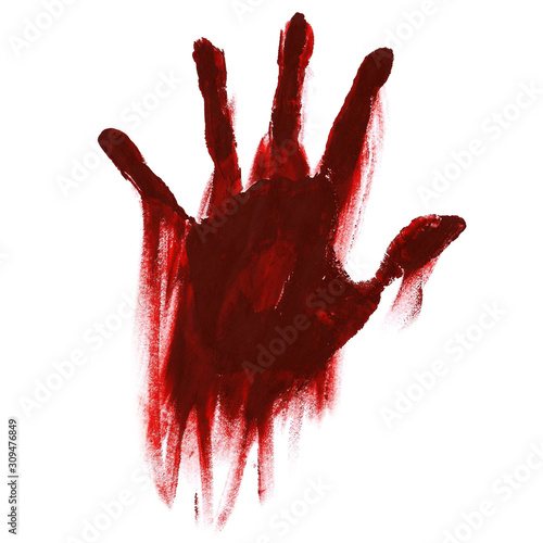 Fotografie, Obraz  blood handprint with smudges for horror isolated on white background