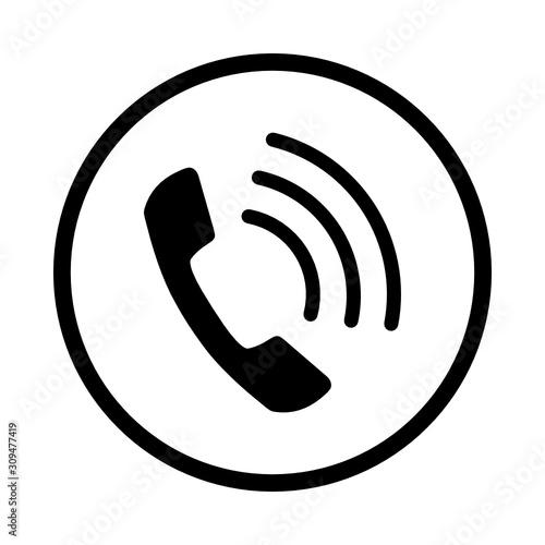 Obraz słuchawka telefoniczna ikona - fototapety do salonu