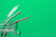 canvas print picture - metal straws and cleaning brush in glass jar