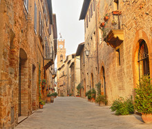 Beautiful Italian Street Of  Small Old Provincial Town