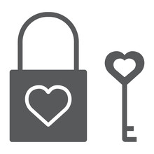 Heart Lock Glyph Icon, Valenti...