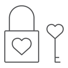 Heart Lock Thin Line Icon, Val...