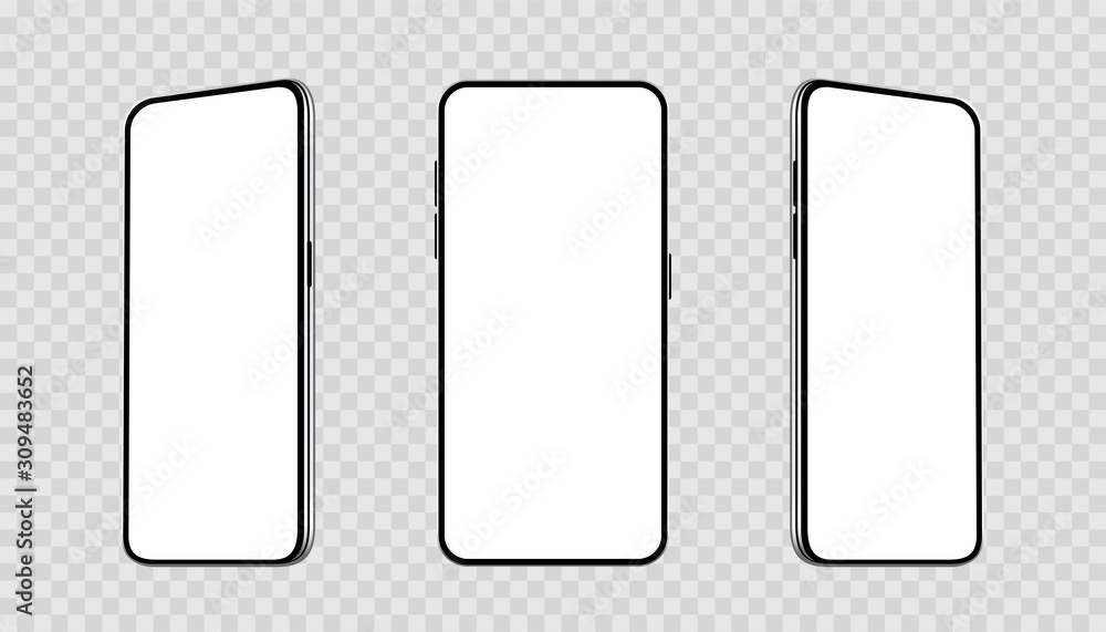 Fototapeta Realistic set smartphones at different angles mockup. Cellphone with blank display. Mobile phone 3d - stock vector.