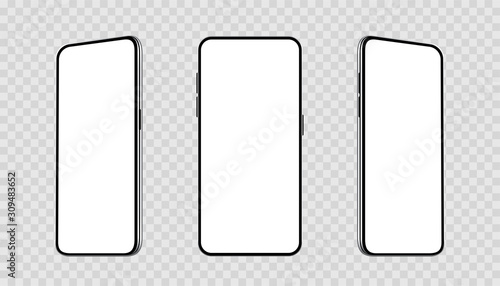 Fototapeta Realistic set smartphones at different angles mockup. Cellphone with blank display. Mobile phone 3d - stock vector. obraz