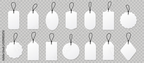 Carta da parati  Set blank white paper price tags or gift tags