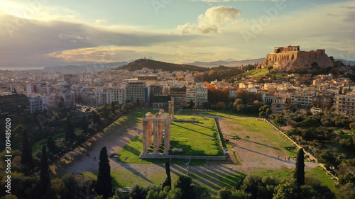 Aerial drone photo of iconic ruins of Temple of Olympian Zeus next to world famo Canvas Print