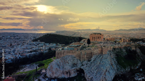 Aerial drone panoramic photo of beautiful sunset with golden colours and clouds Canvas Print