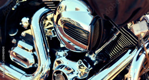 Close up background, part of modern chrome shiny engine of motorcycle, full fram Canvas Print