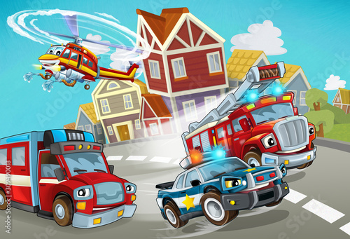 Fototapety, obrazy: cartoon scene with fireman vehicle on the road with police car - illustration for children