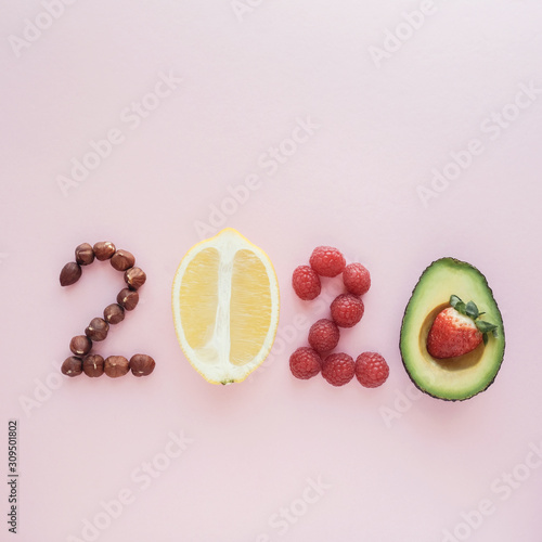 obraz dibond 2020 made from healthy food on pastel background, Healhty New year resolution diet and lifestyle