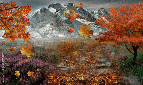 MOUNTAINS AND WINTER AND AUTUMN LEAVES Canvas Print