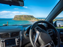 Stunning View From Car Front Seat Of The Nut -- A Volcanic Plug In Town Of Stanley Outside Window. Stanley, Tasmania, Australia