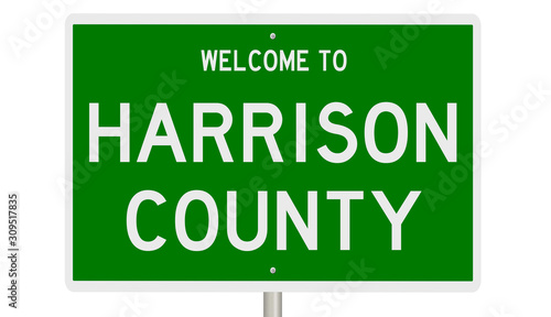 Photo Rendering of a green 3d highway sign for Harrison County