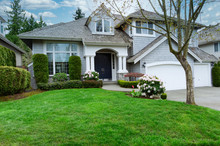 Home And Front Lawn In Early S...
