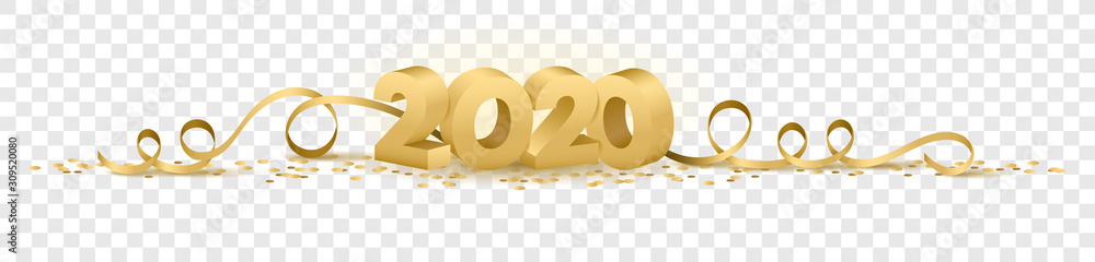 Fototapeta 2020 happy new year vector symbol transparent background isolated