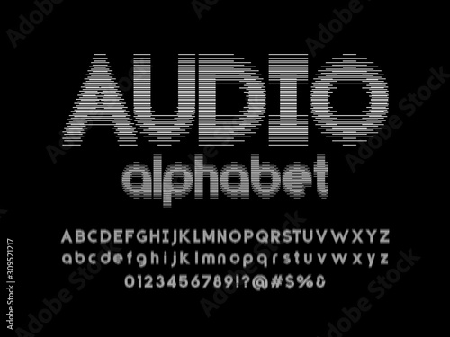 Fototapeta Sound wave style alphabet design with uppercase, lowercase, numbers and symbol