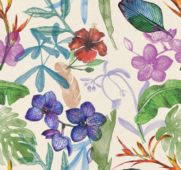 Naklejka Do sypialni Seamless watercolor pattern with tropical flowers, magnolia, orange flower, vanilla orchid, tropical leaves, banana leaves