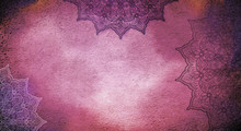 Muted Burgundy And Purple Textured Watercolor Background With Mandalas