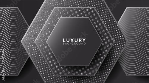 Fototapety, obrazy: Black background. Abstract dark luxury background vector eps 10 with wave shiny glitters and random color halftone effect. Elegant, modern, minimal, trendy for banner, ads, wallpaper, cover.