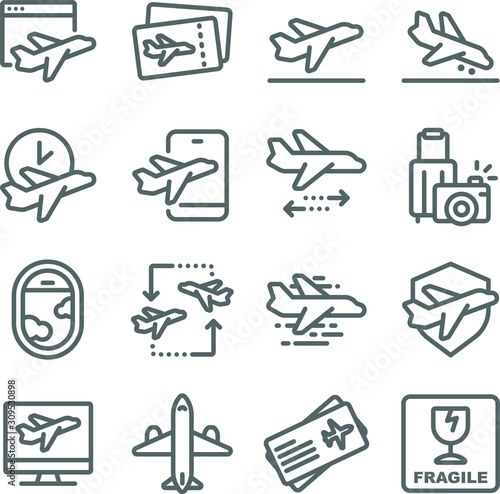 Photo Travel with airplane icons set vector illustration