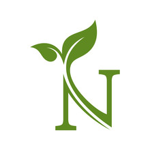 Letter N With Leaf Concepts N ...