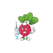 Picture Of Nurse Red Radish Cartoon Style Holding Syringe
