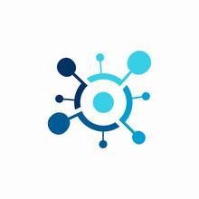 Molecule Abstract Logo Blue Line