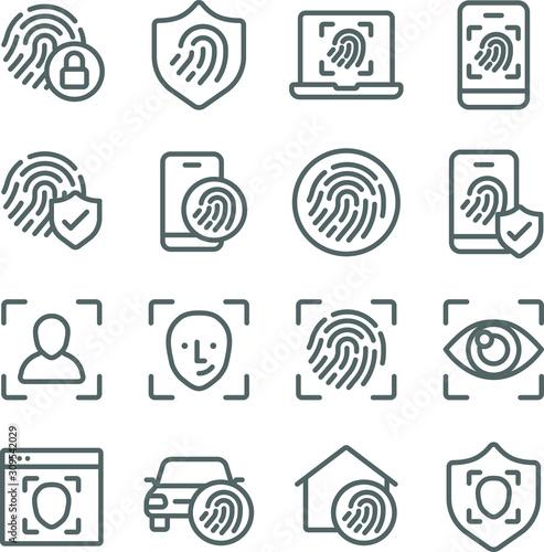 Biometric icons set vector illustration Canvas Print