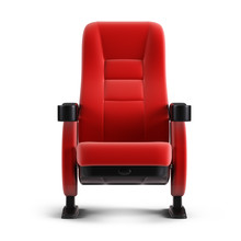 Cinema Concept - Front View Of Red Cinema Chair Isolated On White Background. 3d Illustration