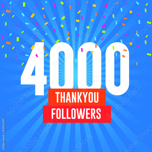 Photo  Thank you 4000 followers vector