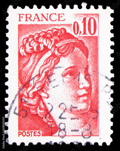Postage stamp printed in France shows Sabine, serie, circa 1978 Canvas Print