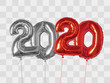 Silver and redfoil balloons number 2020